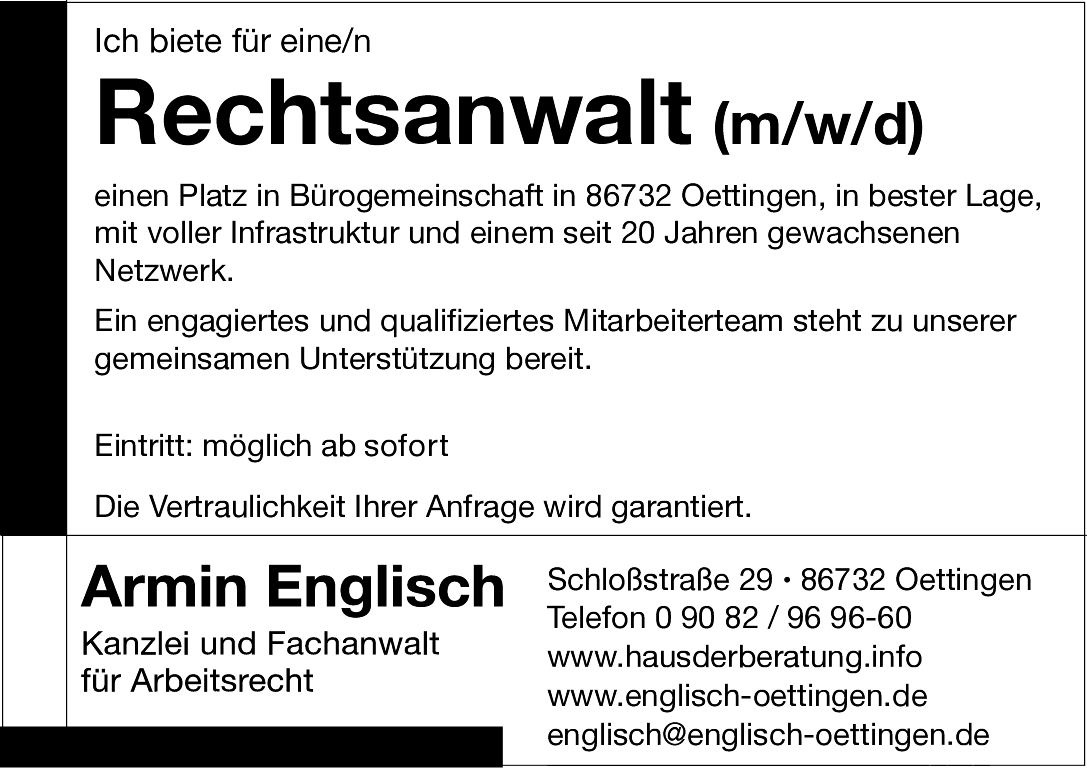 Rechtsanwalt Armin Englisch Fachanwalt Für Arbeitsrecht
